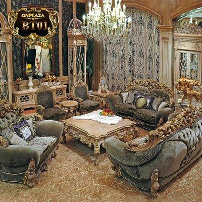 Bộ ghế sofa đơn bọc nệm nhung tân cổ điển sang trọng BT01