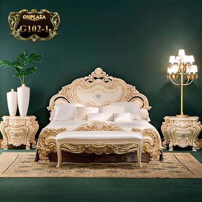 Bộ giường ngủ đá hoa chạm khắc hoa văn cao cấp G102