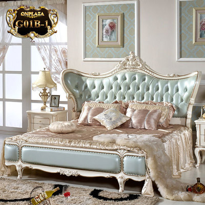 Giường ngủ tân cổ điển phong cách Châu Âu G01B-1 (Màu xanh)