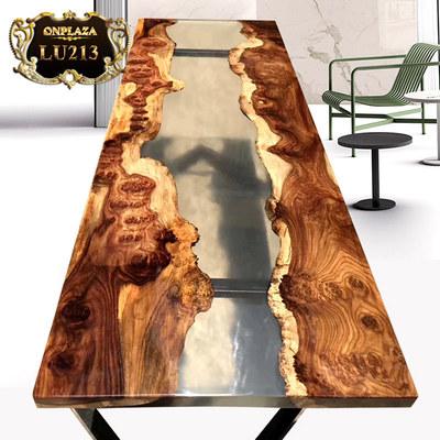 Mặt bàn gỗ nguyên tấm epoxy ấn tượng và mới lạ LU213