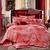 Bộ vỏ chăn ga và gối cưới nền đỏ CG070 họa tiết hoa trắng