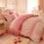 Bộ chăn ga gối màu hồng CG061 họa tiết chấm bi tròn