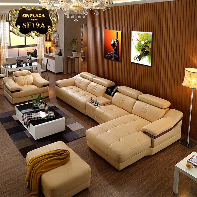 Bộ ghế sofa da phòng khách sang trọng nhập khẩu cao cấp SF19A-1 vàng kem