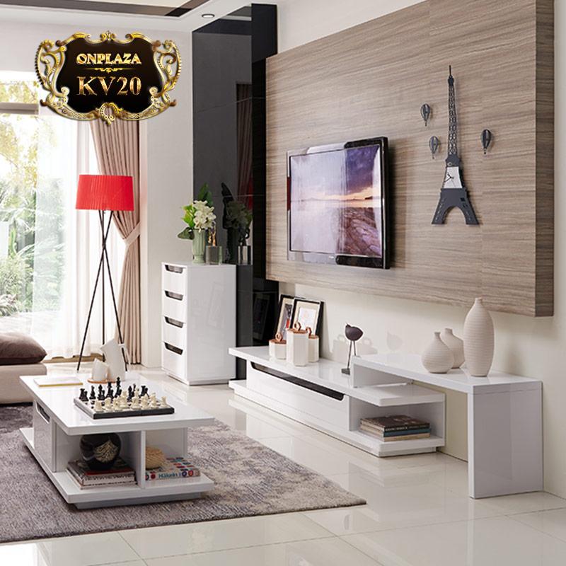 Giá bán Bộ bàn trà+kệ tivi phòng khách sắc trắng tinh tế KV20