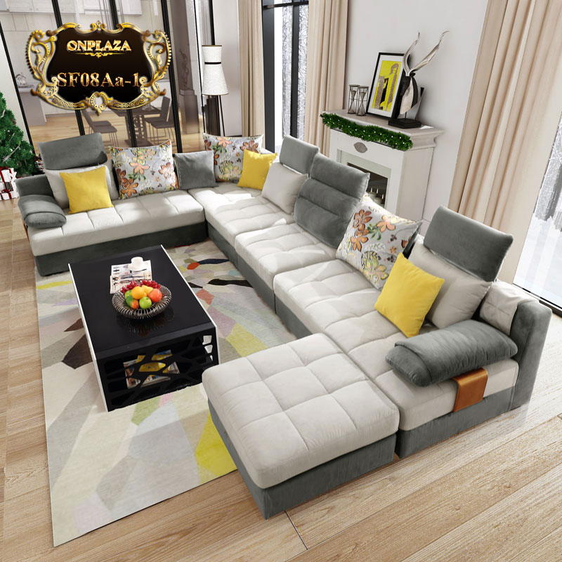 bộ ghế sofa 5 món hiện đại bọc nhung cao cấp SF08Aa-1 (Màu ghi).