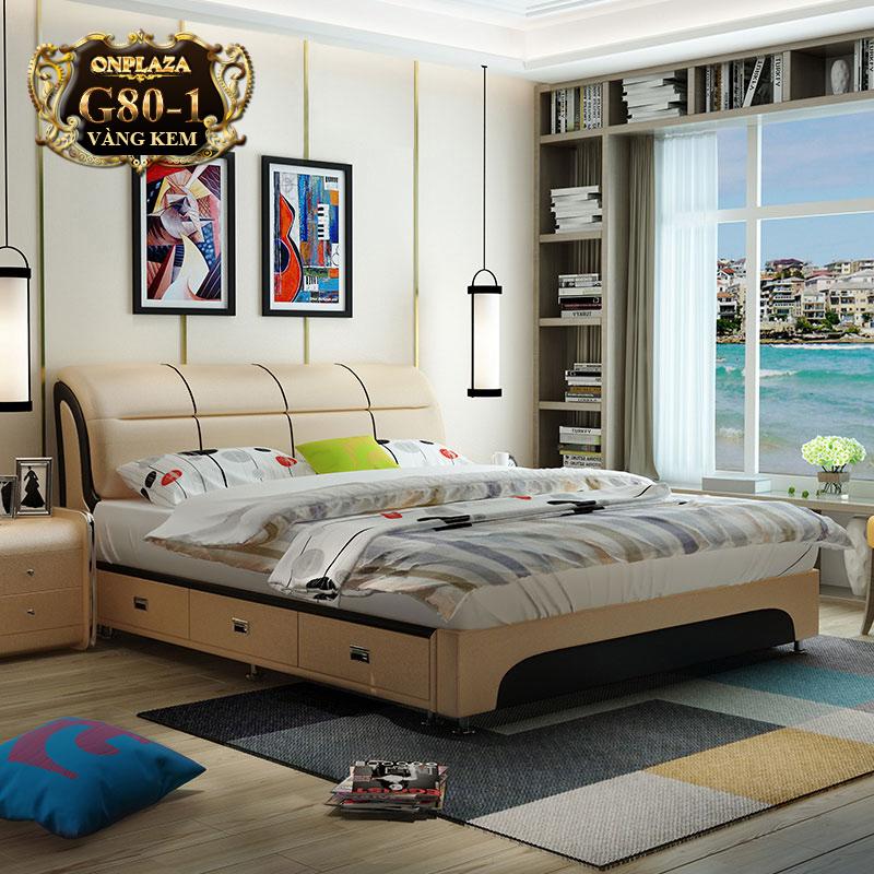 Bộ giường ngủ bọc nệm da G80-1 (Màu kem) giường ngủ đa năng, giường hiện đại tại Hà Nội