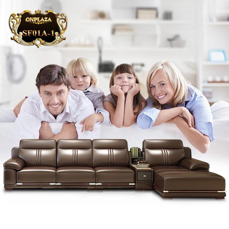 Ghế sofa văng da thật nhập khẩu cao cấp SF01A-1