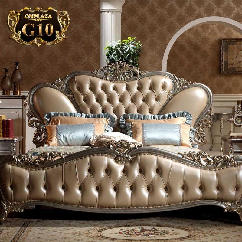 Giường ngủ cổ điển phong cách Hoàng Gia châu Âu G10, giường cổ điển đẹp nhập khẩu, giường cổ điển giá rẻ