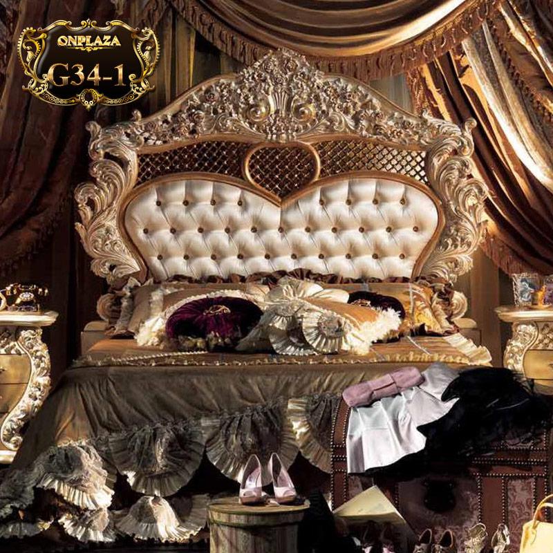 Giường ngủ cao cấp phong cách hoàng gia G34-1 nhập khẩu tại Hà Nội