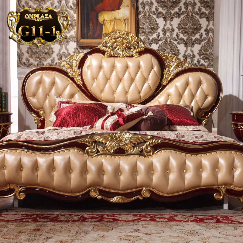 Giường ngủ cổ điển phong cách Hoàng Gia châu Âu cao cấp G11-1, giường gỗ mun đẹp, giường gỗ sồi nhập khẩu