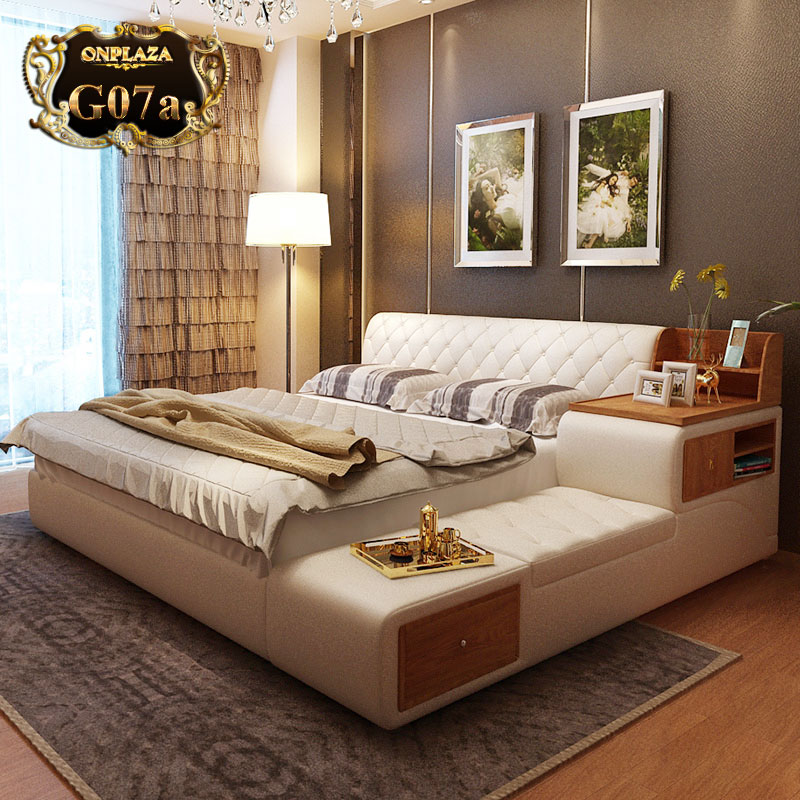 Giường ngủ đa năng nhập khẩu cao cấp G07a, giường ngủ đa năng giá rẻ tại Hà Nội, giường cao cấp gỗ tự nhiên