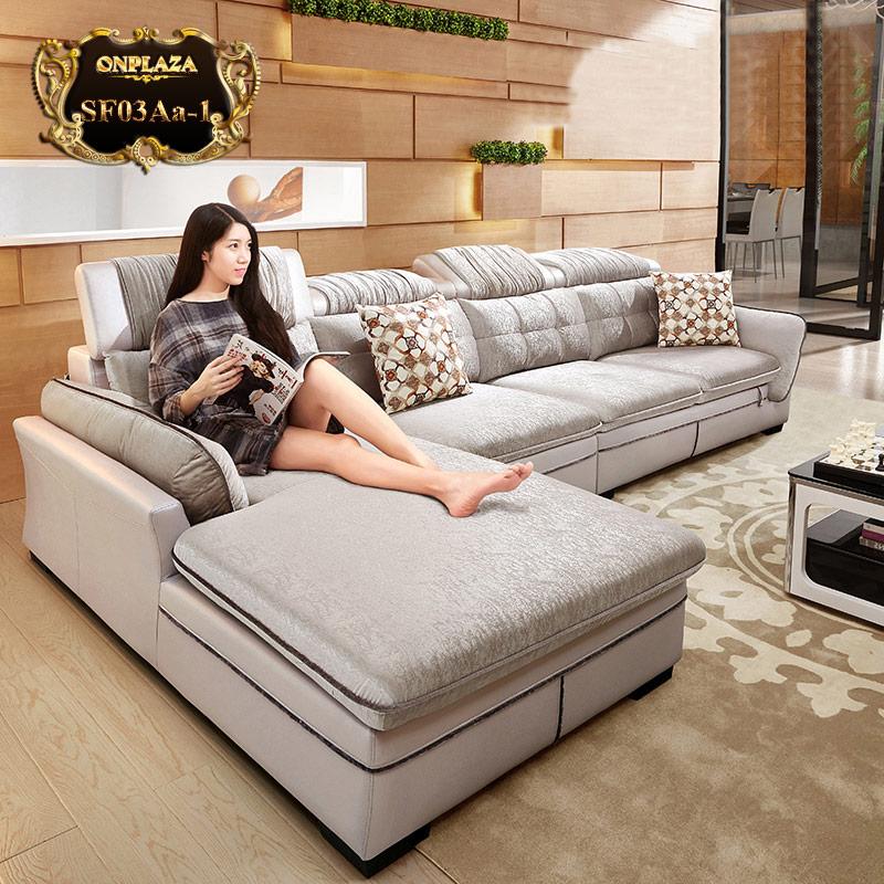 Sofa màu ghi nhập khẩu 3 băng góc phải cao cấp