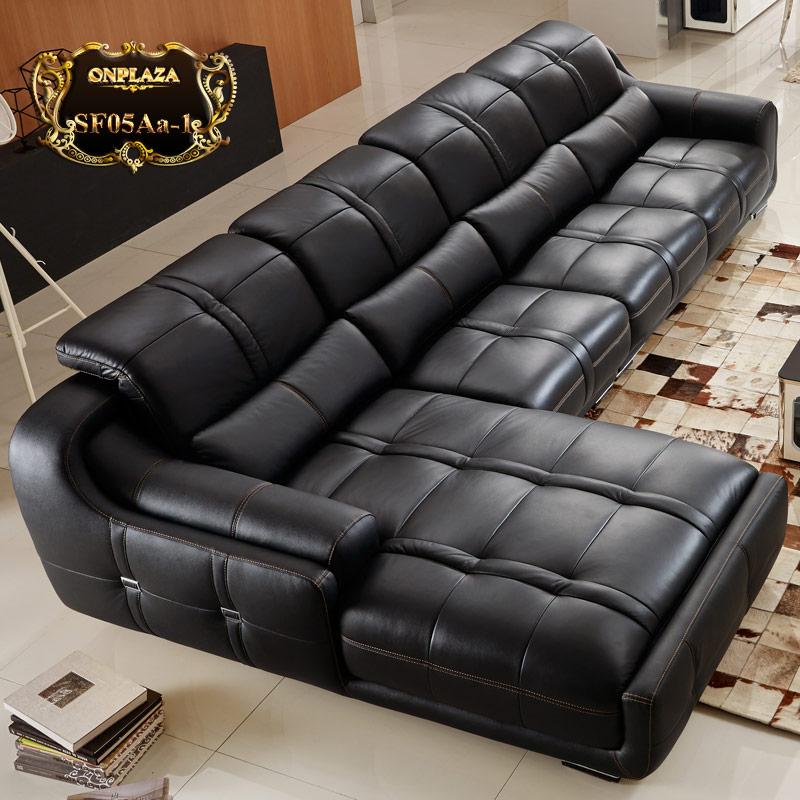 Bộ ghế sofa phòng khách hiện đại 3 băng góc phải nhập khẩu cao cấp SF05Aa-1 (Màu đen)
