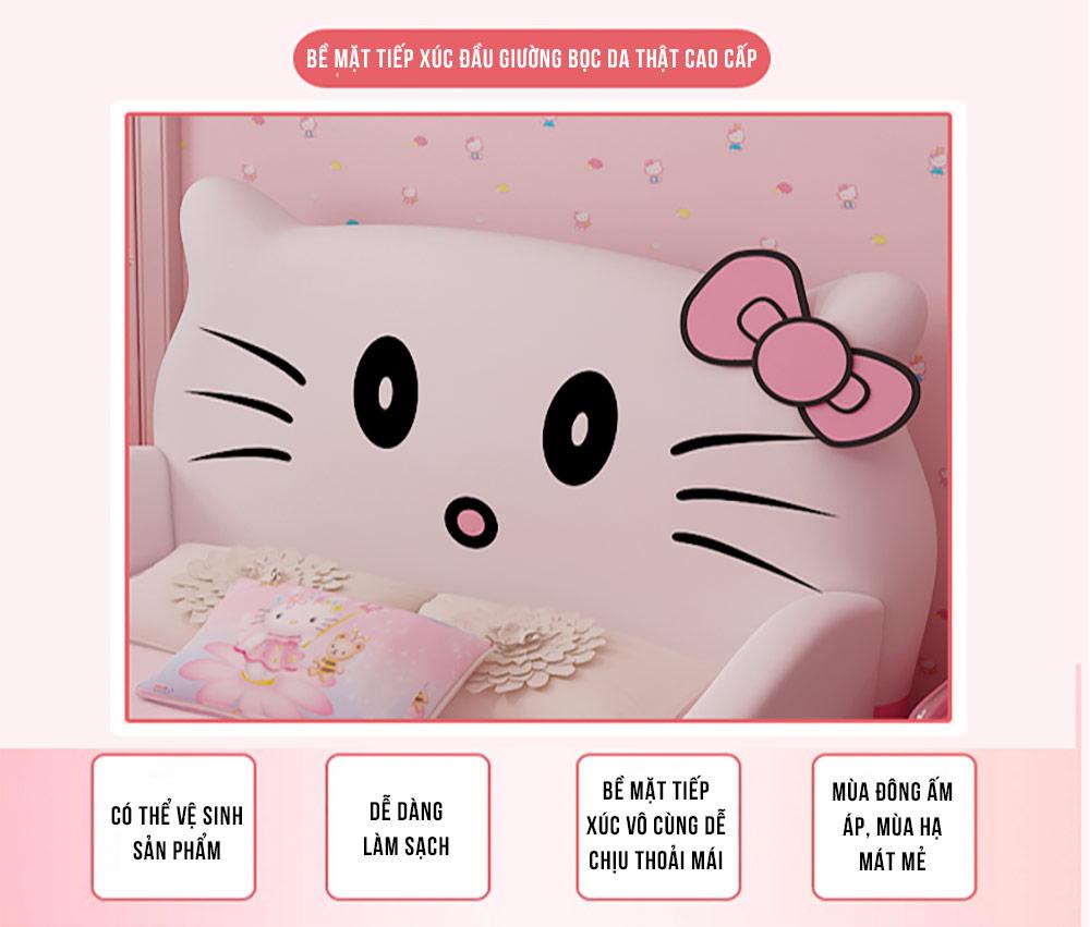 Giường trẻ em bọc da Hello Kitty có thang lên tiện lợi