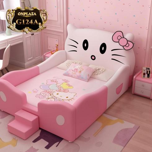 Giường trẻ em bọc da Hello Kitty có thang lên tiện lợi G124