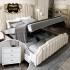 Bộ giường ngủ bọc da phối kim loại phong cách hiện đại sang trọng G160