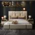 Bộ giường ngủ cao cấp gỗ tự nhiên bọc da phối kim loại phong cách hiện đại sang trọng  G164
