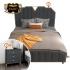 Bộ giường ngủ gỗ tự nhiên bọc da phối kim loại tinh tế phong cách sang trọng (dát truyền thống) G161