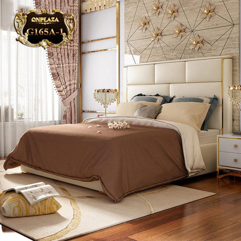Bộ giường ngủ cao cấp bọc da cho phòng ngủ sang trọng (dát truyền thống) G165