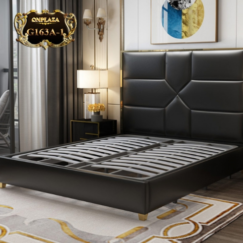 Bộ giường ngủ gỗ tự nhiên bọc da phối kim loại độc đáo và sang trọng (dát truyền thống) G163