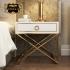 Bộ giường ngủ gỗ tự nhiên bọc da phối kim loại tinh tế phong cách thời trang hiện đại (dát truyền thống) G162