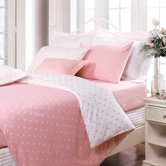 Bộ chăn ga gối màu hồng CG026 họa tiết chấm bi tròn