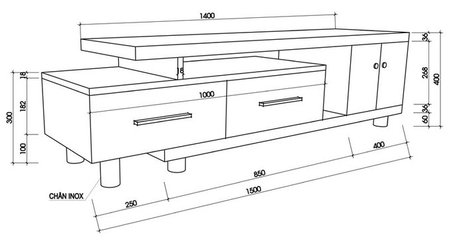 Kích thước của kệ tủ tivi phòng khách đúng tiêu chuẩn