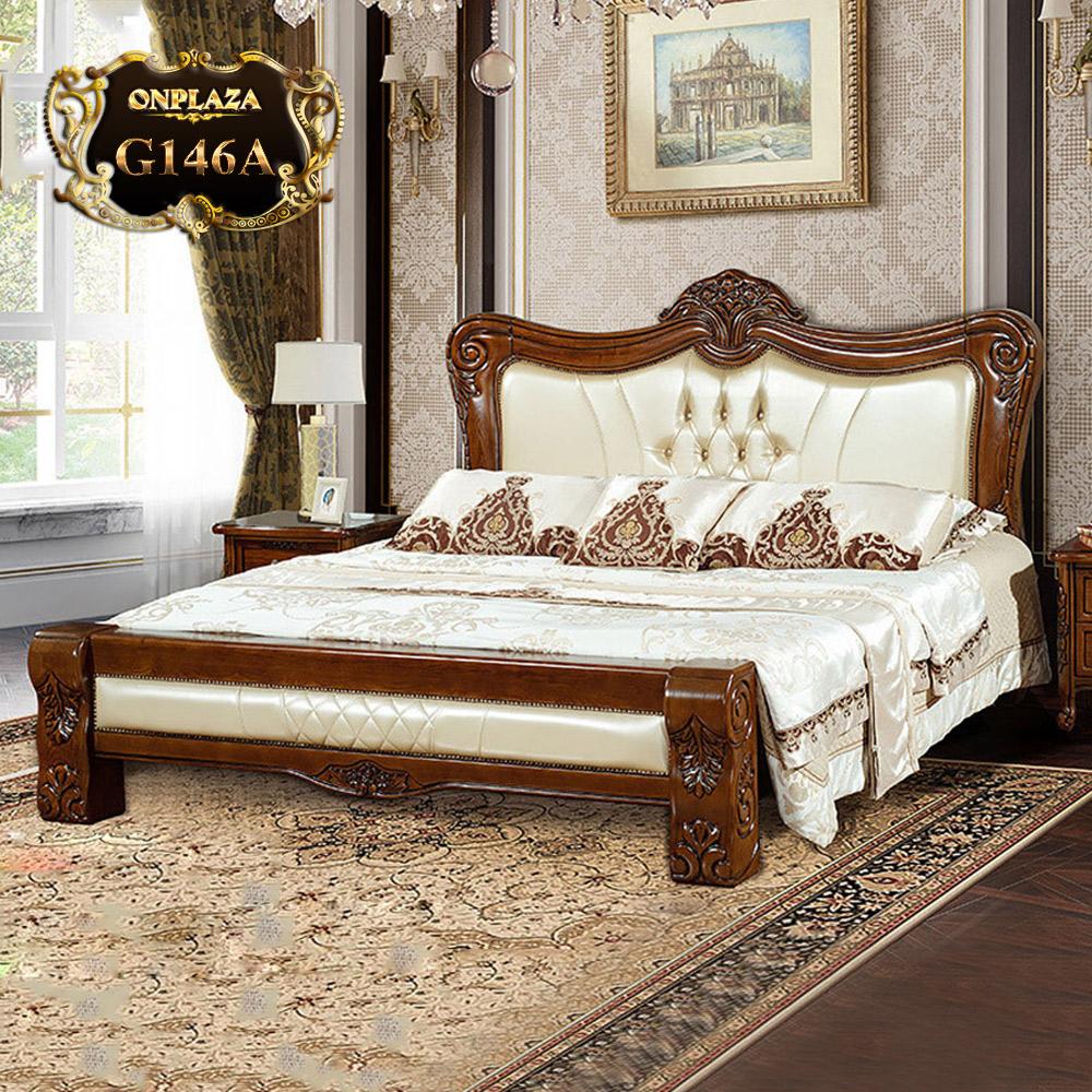 Giường ngủ gỗ phối da cao cấp phong cách tân cổ điển trang nhã G146A