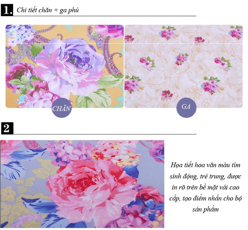 Bộ chăn ga và gối hàn quốc CG028 họa tiết hoa tím chủ đạo