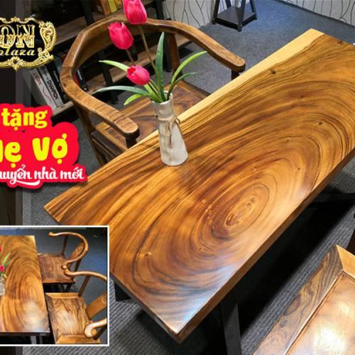 Mặt bàn gỗ thịt nguyên khối me tây cắt vuông