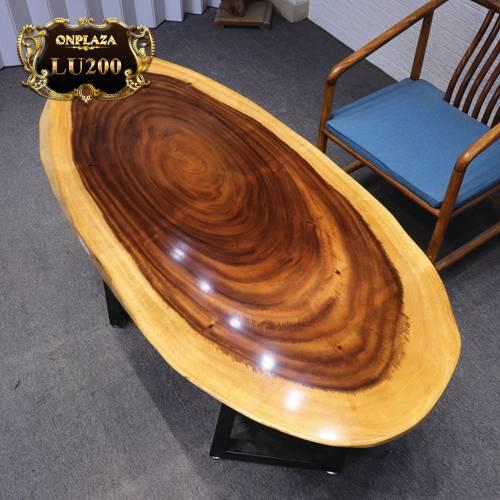Mặt bàn ăn tròn gỗ cẩm thị nguyệt khối lu200