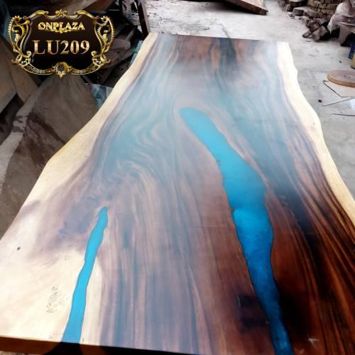 Mặt bàn ăn gỗ me tây đổ keo nghệ thuật Lu209