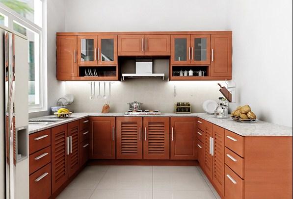 tủ bếp bằng gỗ giá rẻ - Tủ bếp chữ U dành cho không gian rộng