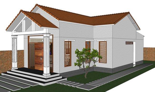 Nhà cấp 4 mái thái thiết kế 4 phòng tiện dụng, rộng rãi