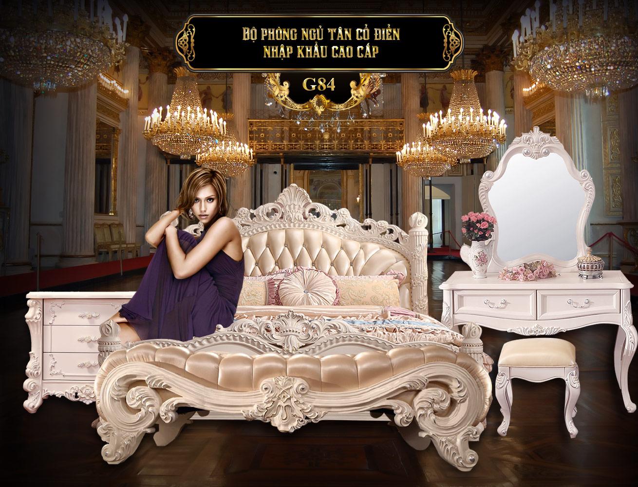 Bộ phòng ngủ tân cổ điển trắng G84   Giường gỗ Sồi trắng cao cấp   Giường ngủ gỗ Sồi tại Hà Nội