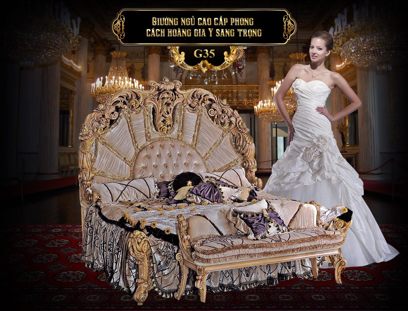 Giường ngủ cao cấp phong cách Ý G35-1 gỗ tự nhiên giá rẻ tại TPHCM