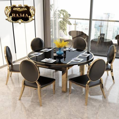 Bộ bàn ăn tròn mặt kính 6 ghế có thể thu gọn kiểu dáng hiện đại sang trọng BA34