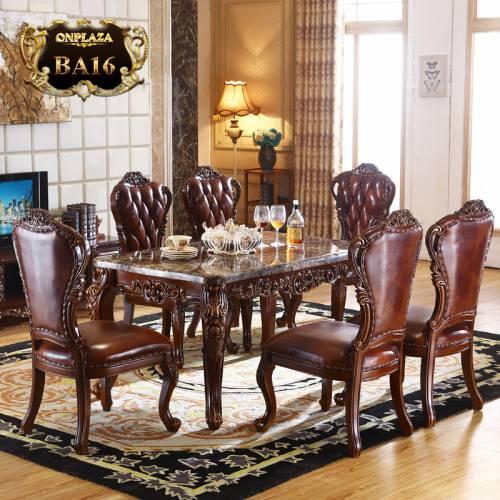 Bộ bàn ghế ăn 6 người phong cách tân cổ điển quý phái tông nâu trầm BA16