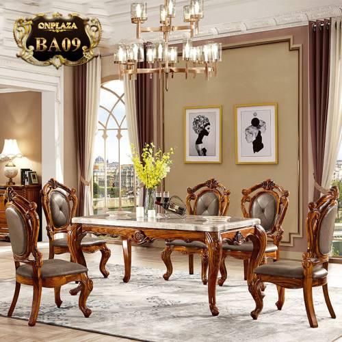 Bộ bàn ghế ăn 6 người gỗ tự nhiên mặt đá cẩm thạch cao cấp dành cho nhà biệt thự BA09