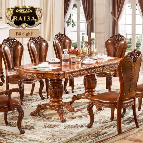 Bộ bàn ghế ăn thu gọn độc đáo dành cho 6 người phong cách tân cổ điển sang trọng BA13