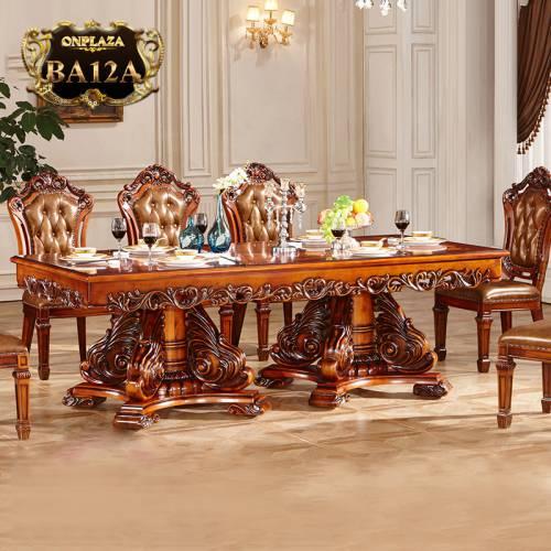 Bàn ăn gỗ tự nhiên chạm khắc cổ điển tinh xảo dành cho nhà biệt thự sang trọng BA12A