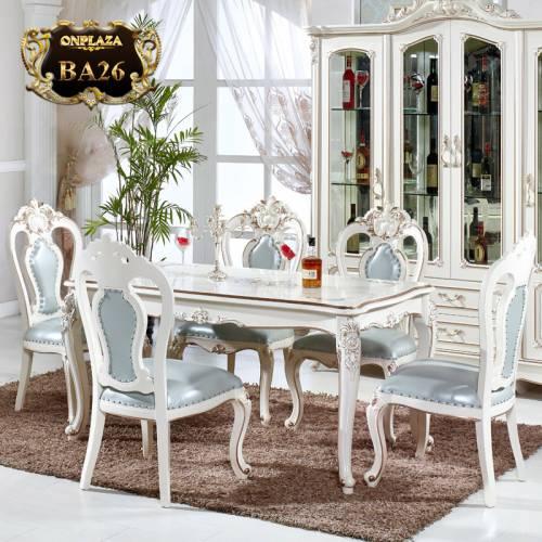 Bộ bàn ghế ăn gỗ tự nhiên dành cho 6 người phong cách lãng mạn Pháp sơn phủ trắng ngọc trai trang nhã BA26