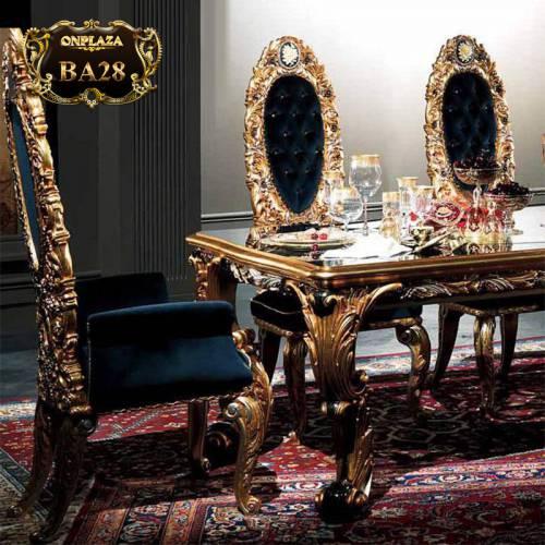 Bộ bàn ghế ăn gỗ tự nhiên chạm khắc cổ điển tinh xảo phong cách hoàng gia Châu Âu 6 ghế BA28