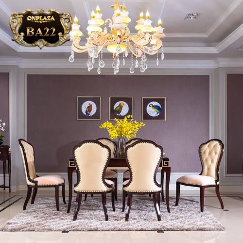 Bộ bàn ghế ăn tân cổ điển dành cho 6 người phong cách Bắc Âu quý phái BA22
