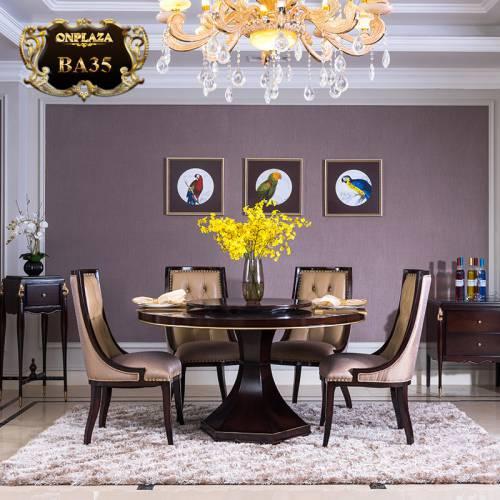 Bộ bàn ghế ăn tròn 6 người cho phòng ăn hiện đại sang trọng BA35