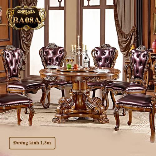 Bộ bàn ghế ăn tròn gỗ tự nhiên chạm khắc tinh tế có mâm xoay cao cấp dành cho 6 người phong cách tân cổ điển sang trọng BA08