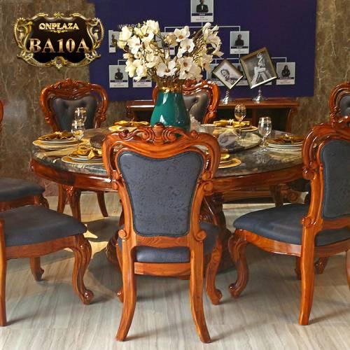 Bộ bàn ghế ăn tròn gỗ tự nhiên có mâm xoay mặt đá dành cho 6 người phong cách tân cổ điển BA10