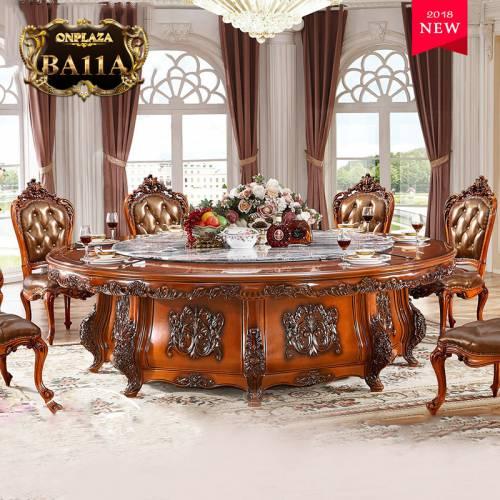 Bộ bàn ghế ăn tròn gỗ tự nhiên cao cấp kèm mâm xoay 10 người dành cho biệt thự và nhà hàng sang trọng BA11A