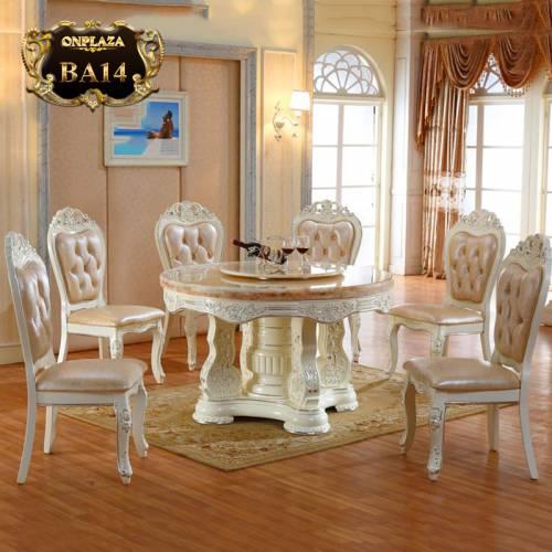 Bộ bàn ghế ăn tròn gỗ tự nhiên mặt đá cẩm thạch trang nhã đài các dành cho 6 người  BA14