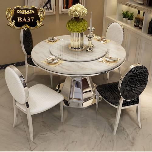 Bộ bàn ghế ăn tròn mặt đá có mâm xoay chân kim loại trang nhã hiện đại BA37